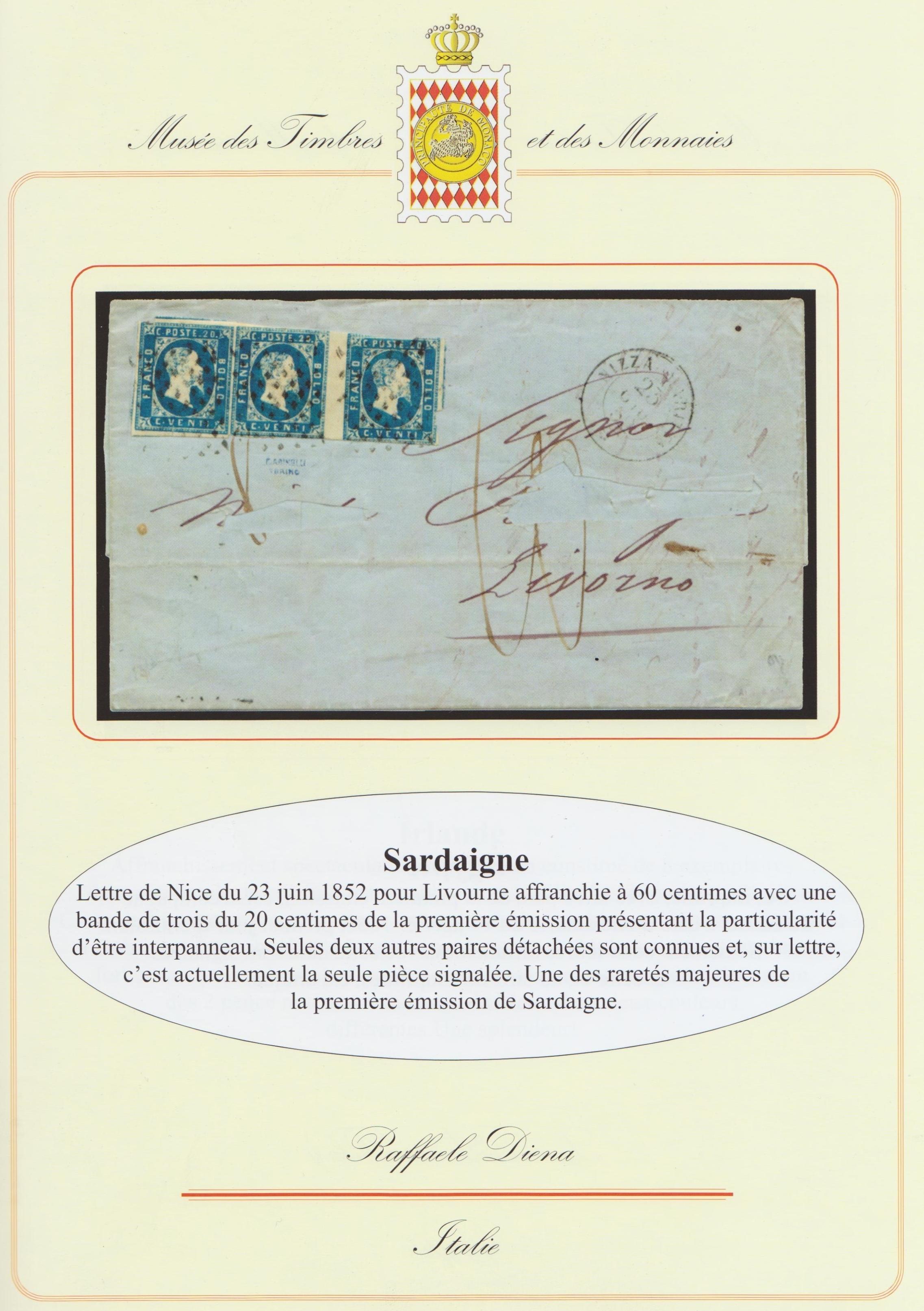 Striscia 3 con interspazio del centesimi 20 di Sardegna