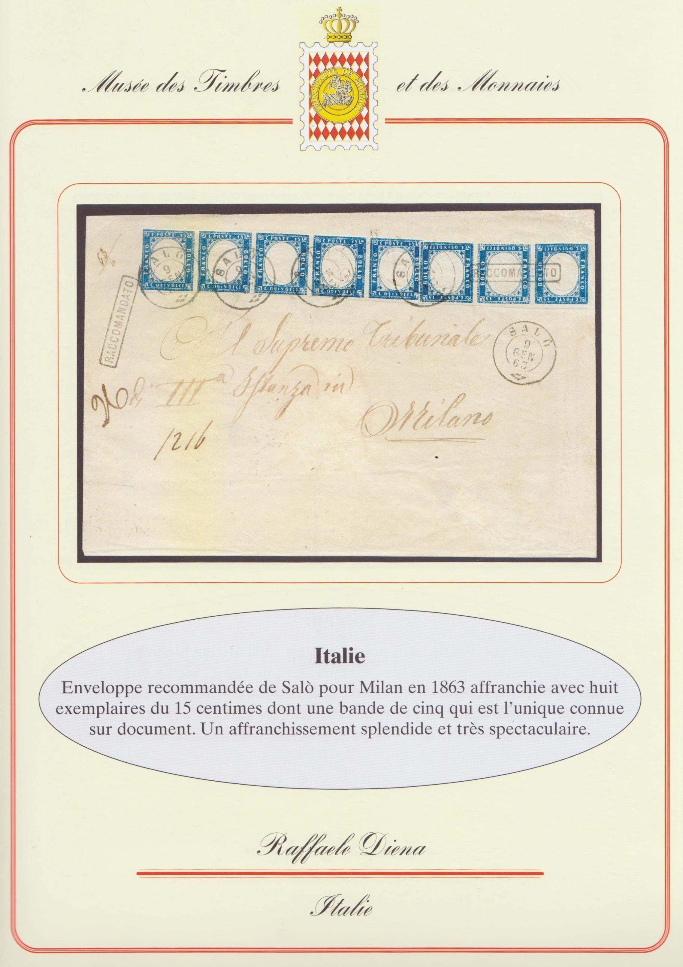 Striscia da 8 del 15 centesimi 1863