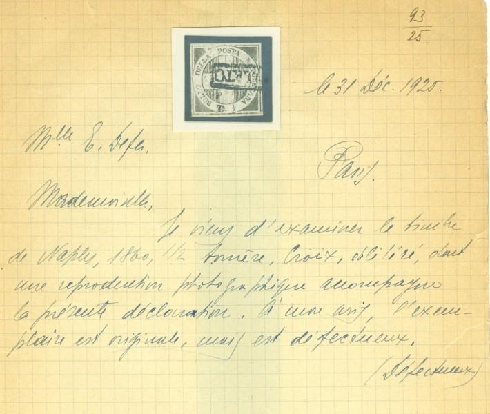 Trinacria usato – certificato storico 1926