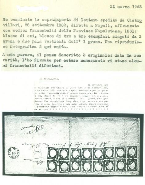 Blocco viaggiato formato da 16 esemplari Province Napoletane – certificato storico